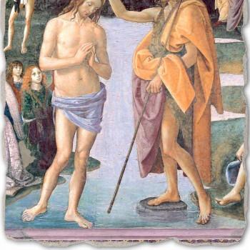 """Fresco reproductie Perugino """"De doop van Christus"""""""