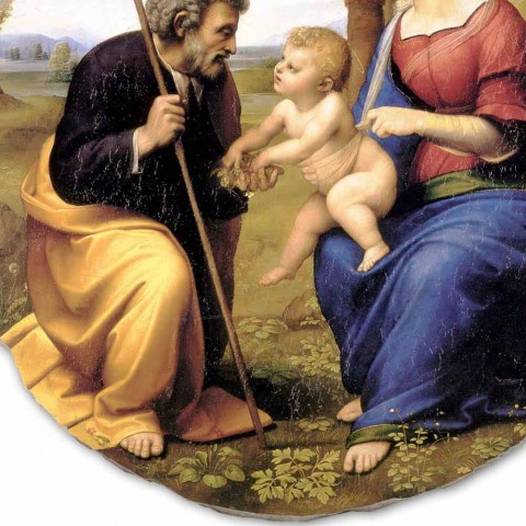 "Fresco reproductie Raffaello Sanzio ""Heilige Familie met Palm Tree"""
