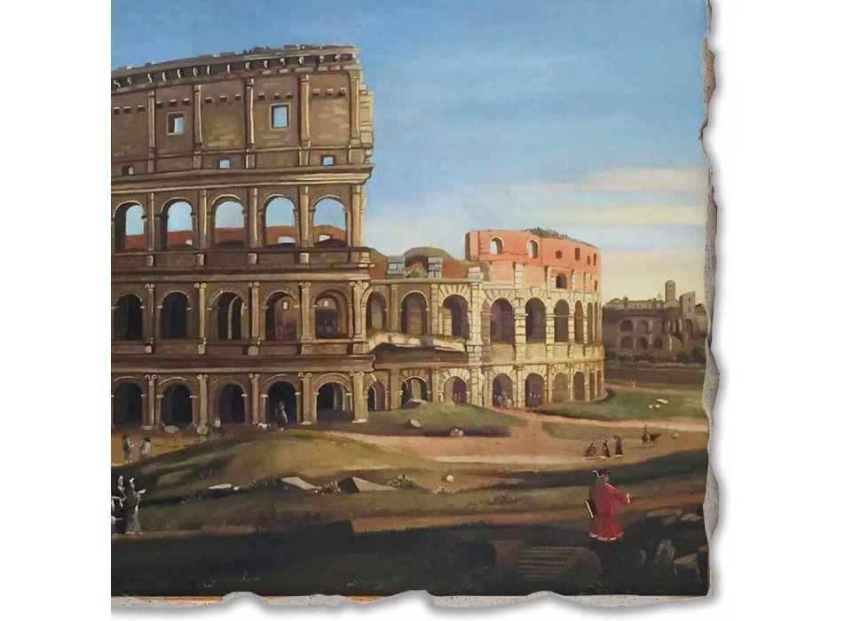 """Vanvitelli Fresco """"Uitzicht van het Colosseum en de Boog van Constantine"""""""