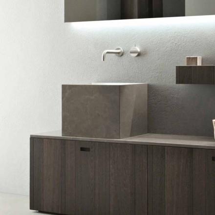 Hoge vierkante aanrecht wastafel in modern design steen - Farartlav1