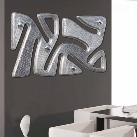 Wandhaak ontwerp met de hand gedecoreerd in holt zilveren blad