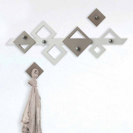 Witte en beige houten muurhanger Modern geometrisch ontwerp - Klimt