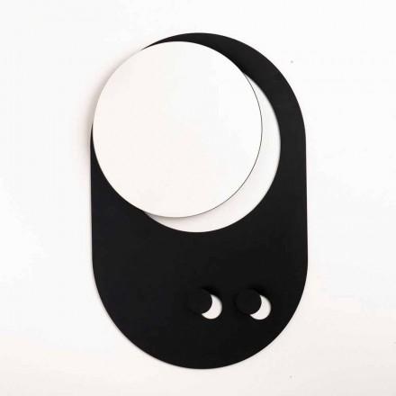 Moderne wandkapstok in staal met spiegel Made in Italy - Pilippo