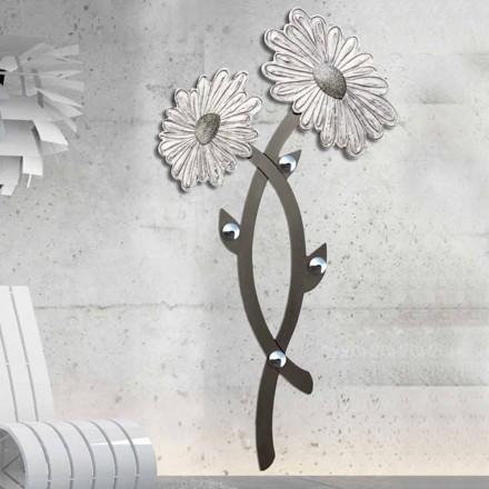 Met de hand versierde muurhaak in zilver Clarke-design