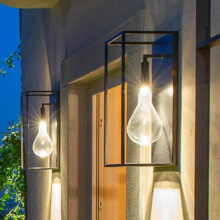 IJzeren wandlamp voor buiten met warm LED-licht en glas Made in Italy - Falda