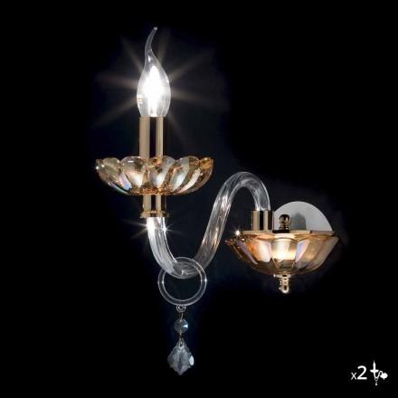 Wandlamp klassiek design in kristal en glas Fijn, 2 stuks