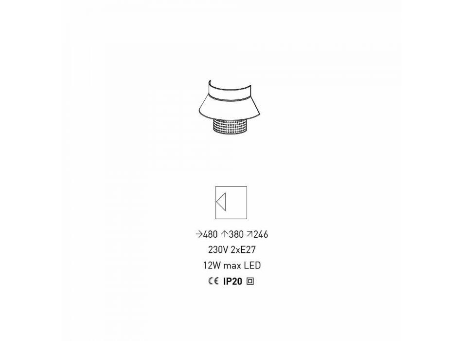 Applique in witte en grijze stof en rotan design Made in Italy - Sailor