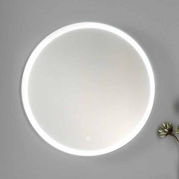 Badkamermeubels in wit en walnoothout met wastafel, wandmeubel en spiegel - Renga