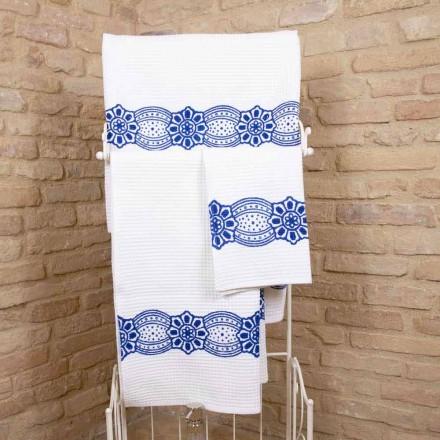 Italiaanse handgemaakte handdoek met handgemaakte print in katoen - Viadurini van Marchi