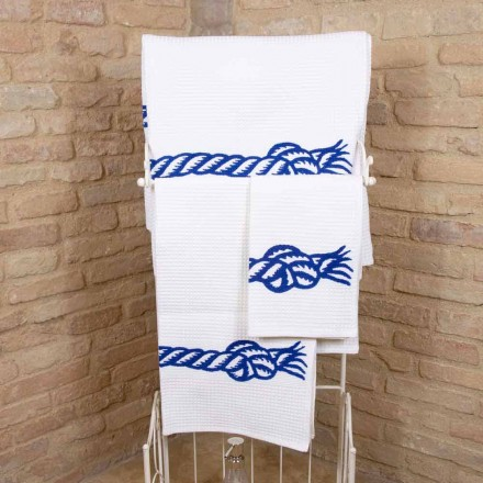 Handdoek met handgemaakte print van katoen, uniek stuk gemaakt in Italië