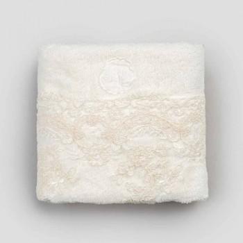 Katoenen badstof handdoek met kant en linnenmix rand - Ginova