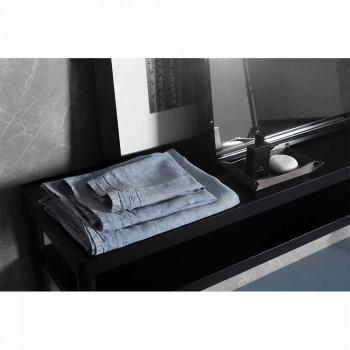 Lichtblauwe, zware linnen gastendoek, Italiaans luxe design - Jojoba