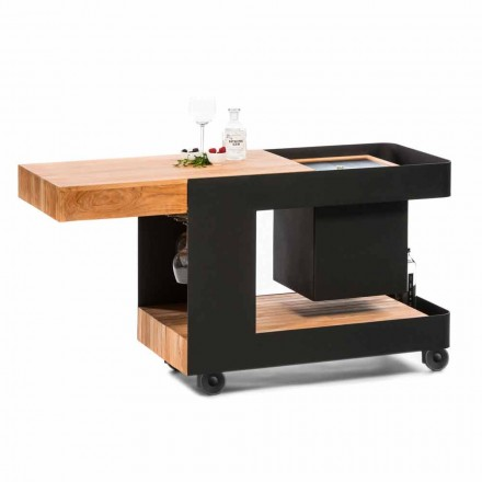 Moderne mobiele bar op wielen ontwerp met houten en stalen tafel - Giancalliope