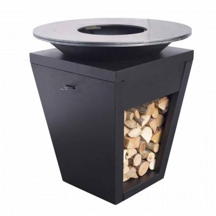 Houtgestookte Barbecue Met Kookplaat En Houten Houdercompartiment - Ferran