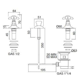 Batterij Bidet 3 Gaten Interne Levering Messing en Vlinder Handgrepen - Miriano