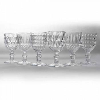 Beker in transparant glas met reliëfdecoratie 12 stuks - Angers