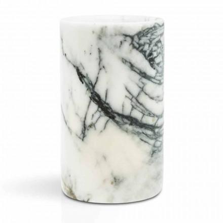 Glazen tandenborstelhouder in Paonazzo marmer gemaakt in Italië - Limba