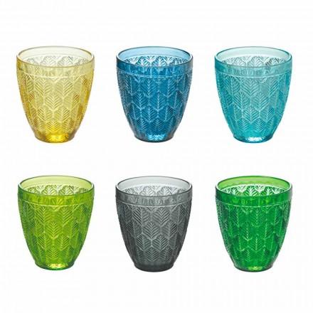 Gekleurde glazen waterglazen met bladdecoratie, 12 stuks - Indonesië