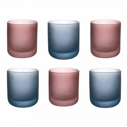 Gekleurde waterglazen in mat glas met ijseffect, 12 stuks - Norvegio