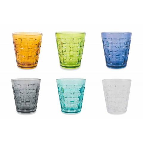 6 Gekleurde Service Gekleurde Glazen Waterglazen - Verweven