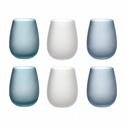 Waterglazen in gekleurd matglas complete service 12 stuks - herfst