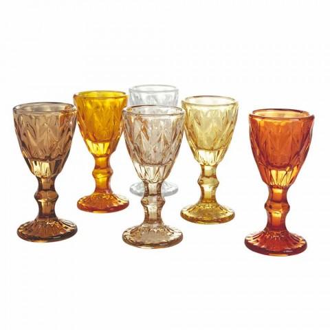 Bekerglazen voor likeur in blauw of amberkleurig glas met kleurverloop, 12 stuks - veelvlak