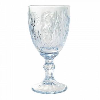 Glazen Wijn of Water Gekleurd Glas Marine Decor 12 Stuks - Mazara