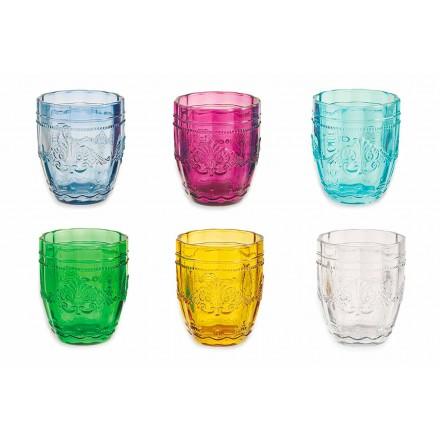 Gekleurde en elegante glazen in glazen servies van 12 stuks voor water - schroef