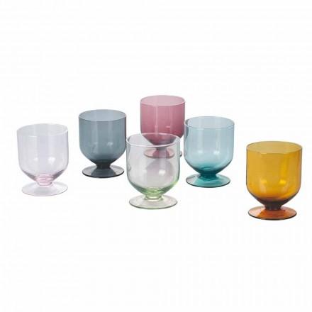 Gekleurde glazen in origineel designglas, 12 stuks servies - beslag