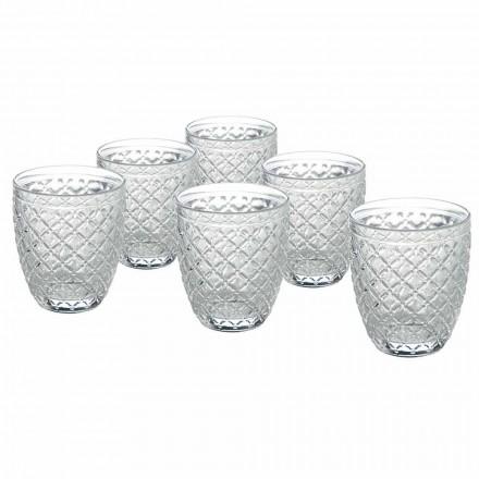 Transparant Glazen Waterglazen met Gesneden Decoraties 12 Stuks - Rocca
