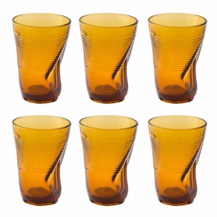 Gekleurde glazen cocktailglazen 12 stuks verfrommeld ontwerp - Sarabi
