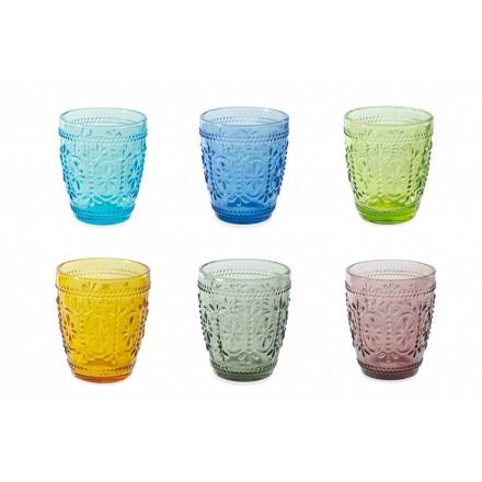 Gedecoreerde en gekleurde glazen waterset 12-delig - Pastel-Palazzo