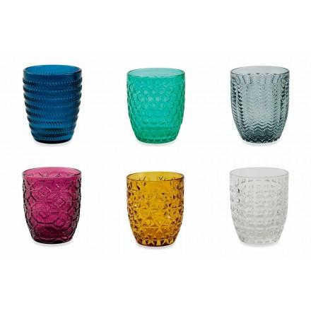 Modern Gekleurd Glas Versierde Glazen Serveerwater 12 Stuks - Mix