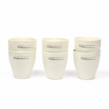 Luxe design glazen van wit porselein 6 unieke stukken - Arcireale