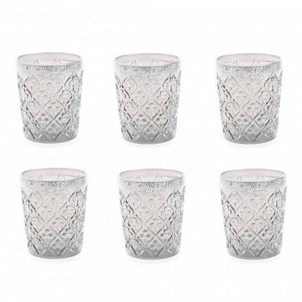Glazen van transparant glas met versieringen, 12-delige waterservice - Marokko