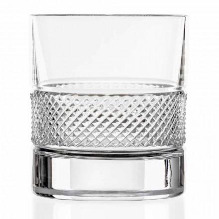Lage Tumblerglazen in Eco Kristal met Luxe Decoratie 12 Stuks - Milito