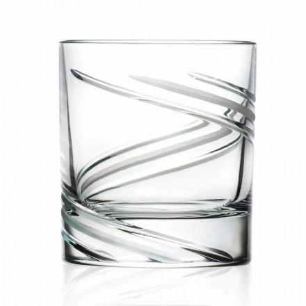 Lage tuimelaarglazen in handdecor Eco-kristal, 12 stuks - Cycloon