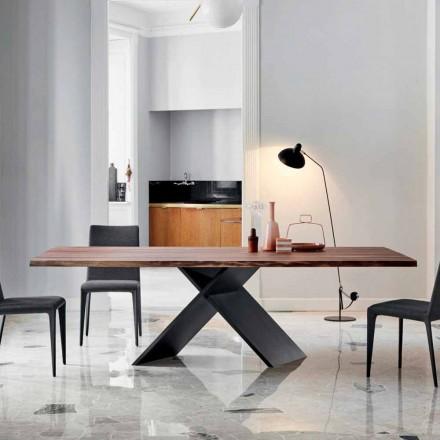 Bonaldo Axe designtafel in hout met natuurlijke randen gemaakt in Italië
