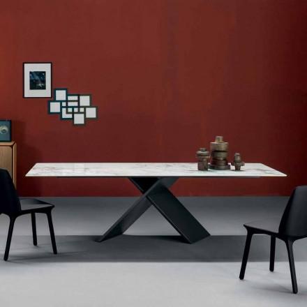 Bonaldo Axe platte designtafel in keramische metalen voet gemaakt in Italië