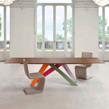 Bonaldo Big Table verlengbare houtfineertafel gemaakt in Italië