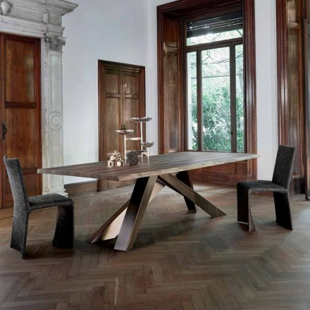 Bonaldo Big Table massief houten tafel natuurlijke randen gemaakt in Italië