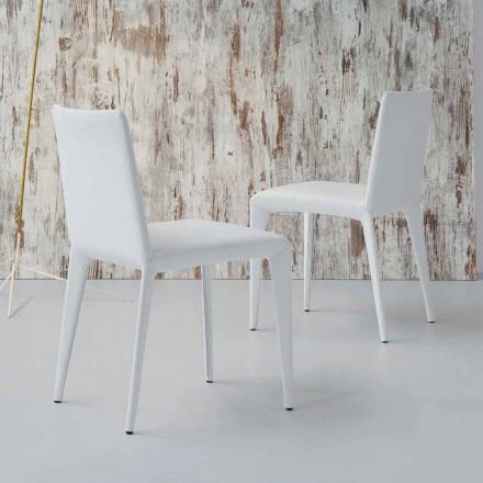 Bonaldo Filly gestoffeerd design stoel in wit leer gemaakt in Italië