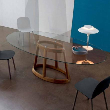 Bonaldo Greeny ovale tafel in kristal en hout ontwerp gemaakt in Italië