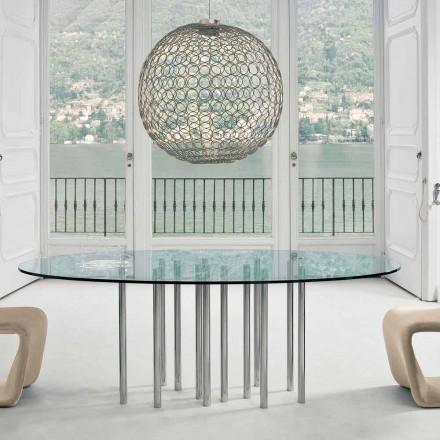 Bonaldo Mille ronde tafel in kristal en verchroomd staal gemaakt in Italië
