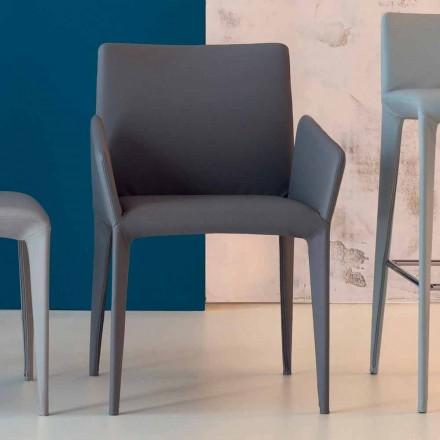 Bonaldo Miss Filly gestoffeerde leren stoel met armleuningen gemaakt in Italië