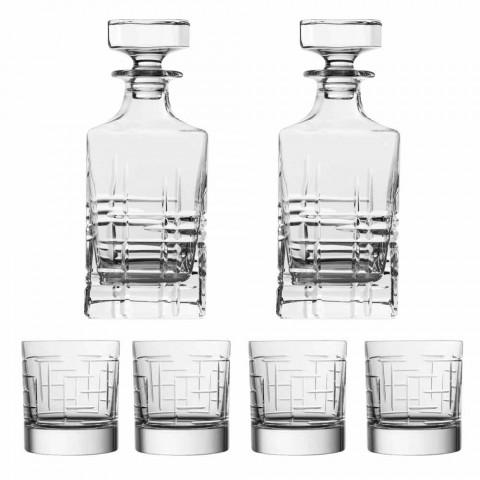 Fles en glazen voor luxe whisky in ecologisch kristal 6 stuks - aritmie