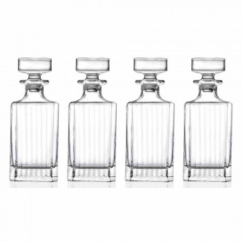 4-delige vierkante design eco kristallen whiskyflessen - Senzatempo