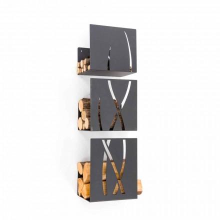 Caf Ontwerp Trio brandhout houder door stalen muur gemaakt in Italië