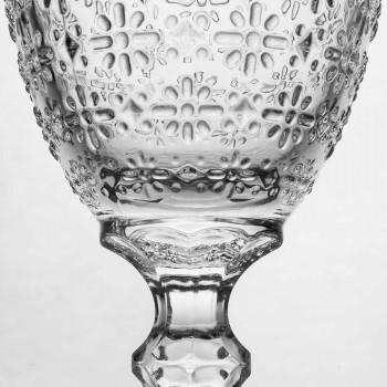 Bekerglas in transparant glas met reliëfdecoraties, 12 stuks - Trapani