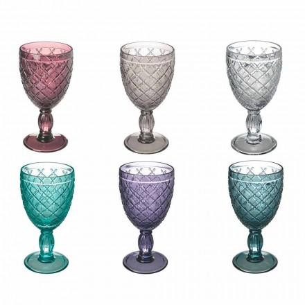 Wijn- of waterbeker in gekleurd of transparant glas met decoraties, 12 stuks - Rocca